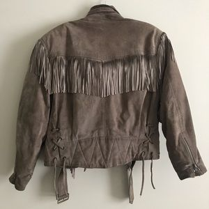 Vintage Suede Moto Jacket With Fringe